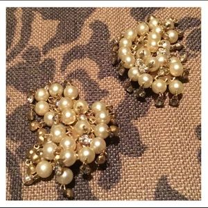 Beautiful Pearl & Rhinestone Gold Clip Earrings